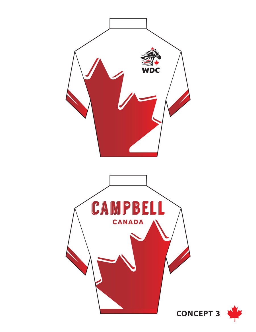 Brandon Campbell's Canadian colours for the World Driving Championships