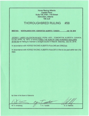 Ruling T058-2016
