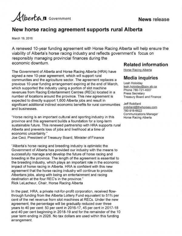New horse racing agreement supports rural Alberta