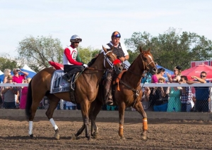 Rico Walcott aboard Broadway Empire in the post parade for the 84th Canadian Derby in 2013