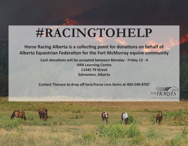 Horse Racing Alberta is #RacingToHelp the Fort McMurray Equine Community!