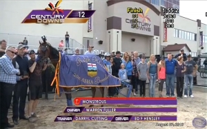 Monstrous in the winner's circle for the Ralph Klein stake at Century Downs this August