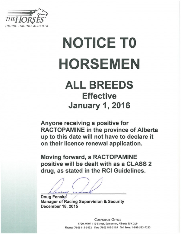 NOTICE TO HORSEMEN - ALL BREEDS