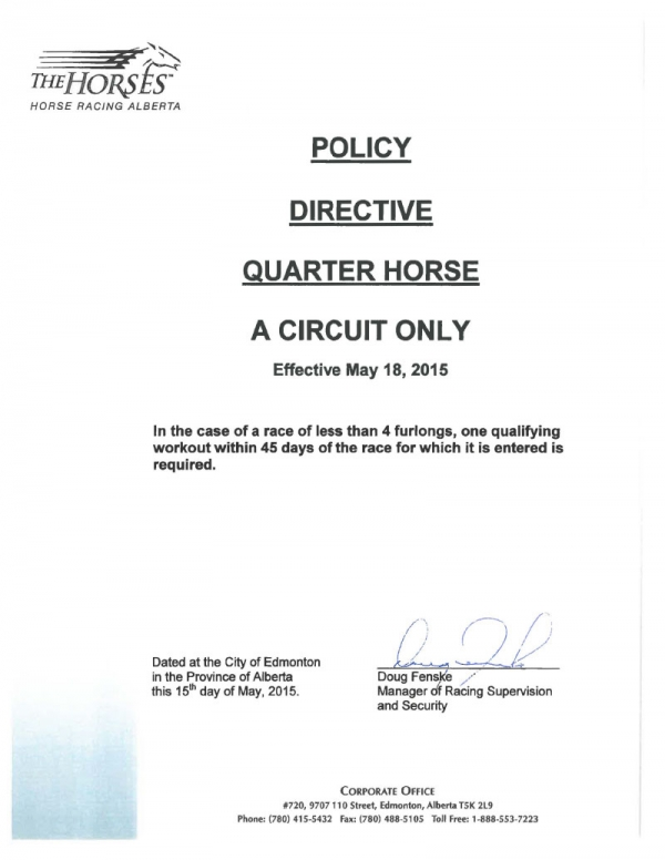 Quarter Horse Policy Directive