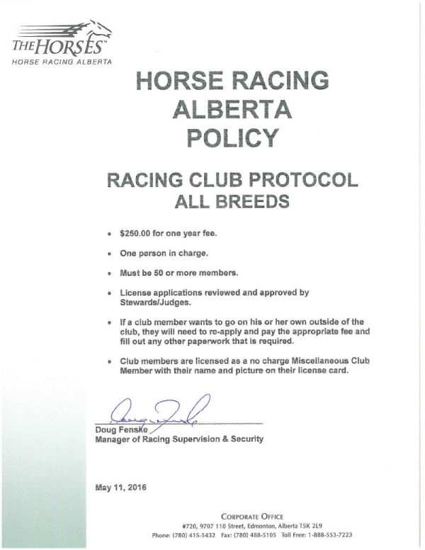HRA Policy - Racing Club Protocol All Breeds