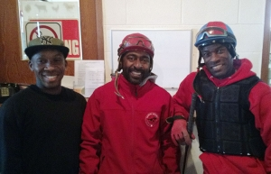 L to R –  Jockeys Andrew Wright, Carlton Malcolm and Neville Stephenson.  Neville won two stakes races this past weekend.