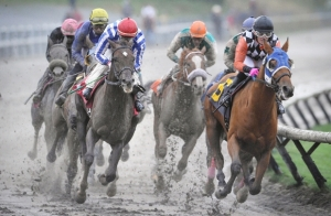 Ruben Lara aboard Killin Me Smalls (6) leads the pack at the B.C. Premiers race at muddy Hastings Racecourse in Vancouver on October 12, 2015