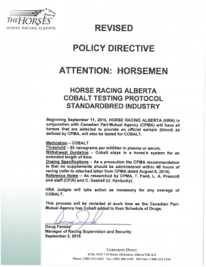 Revised Policy Directive - Cobalt Testing Protocol