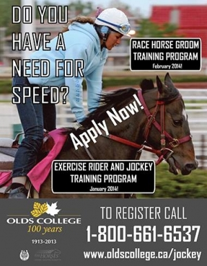 Upcoming Groom and Exercise Rider programs at Olds College