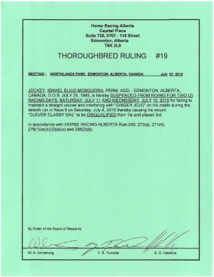 Ruling T019-2015