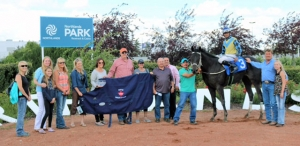 Norm's Big Bucks in the winner's circle for the 2-Year-Old Sales Stake at Northlands Park