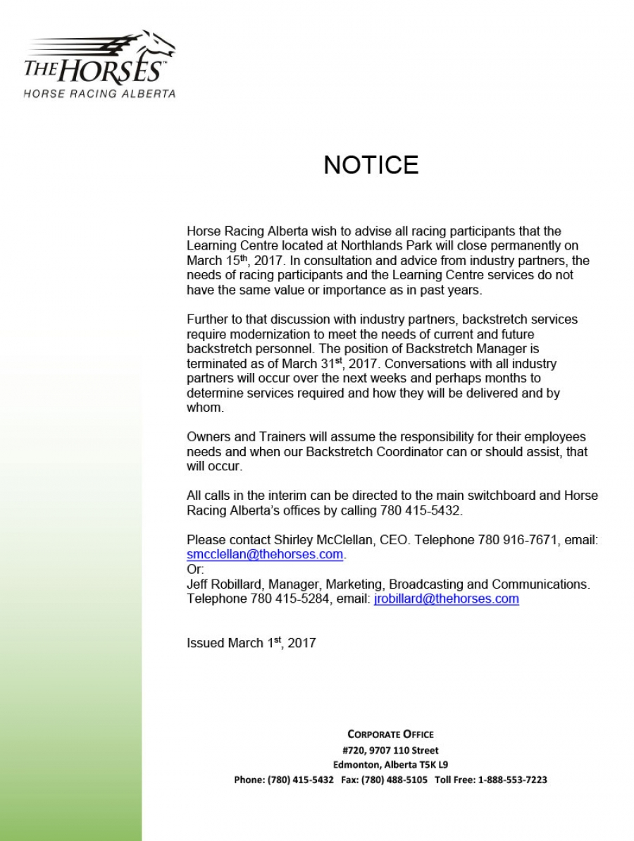 Notice - Learning Centre Closure (update)
