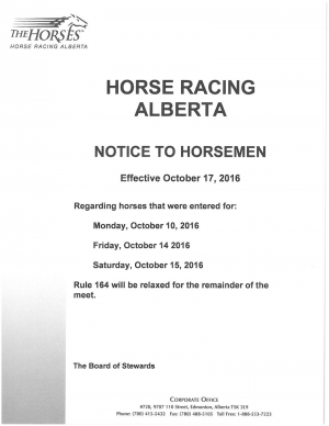 NOTICE TO HORSEMEN
