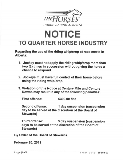 Notice to Quarter Horse Industry
