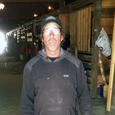 Groom Shawn McConaghie in the barns at RMTC